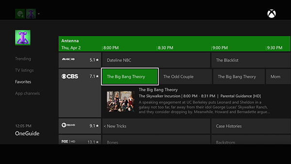 Xbox TV has OneGuide: a built-in TV guide