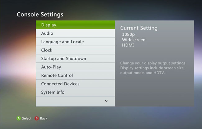 how to change resolution on xbox 360 without screen